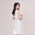 Dress Summer 2020 white S,M,L Short skirt singleton  Sleeveless V-neck High waist Solid color 18-24 years old Type H D688 polyester fiber