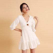 Dress Summer 2020 White, pink S,M,L,XL Short skirt singleton  three quarter sleeve commute V-neck High waist Solid color other Ruffle Skirt bishop sleeve 18-24 years old Type X Simplicity Ruffles, hollows, folds, zippers D703 91% (inclusive) - 95% (inclusive) polyester fiber