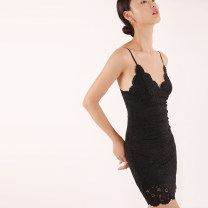 Dress Summer 2021 black S,M,L Short skirt singleton  Sleeveless street V-neck High waist Solid color Socket One pace skirt other camisole 18-24 years old Type H TANSSHOP Hollowing out D948 More than 95% Lace polyester fiber Europe and America