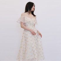 Dress / evening wear Wedding, adulthood, party, company annual meeting, performance, routine, appointment S,M,L Apricot longuette High waist polyester fiber D779 Short sleeve Decor