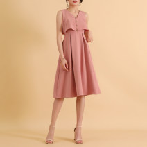 Dress Summer 2020 White, pink S,M,L,XL Mid length dress Fake two pieces Sleeveless commute V-neck High waist Solid color zipper Big swing 18-24 years old Korean version Button 91% (inclusive) - 95% (inclusive)