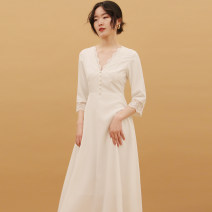 Dress Autumn 2020 White, apricot, black S,M,L longuette singleton  Long sleeves commute V-neck High waist Solid color A-line skirt routine 25-29 years old Type A Button D856 polyester fiber