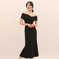 Dress / evening wear Adulthood, party, company annual meeting, show, date XS,S,M,L Black, dark green Korean version longuette middle-waisted fish tail One shoulder zipper 18-25 years old Short sleeve Solid color routine