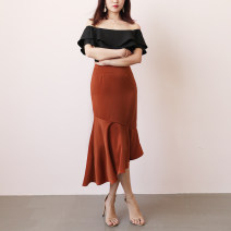skirt Autumn of 2018 S,M,L Black, brick red Mid length dress commute High waist Irregular Solid color 18-24 years old Q029 TANSSHOP polyester fiber