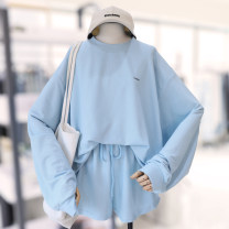 Casual suit Spring 2021 Blue suit, pink suit, yellow suit, gray suit, gray suit M (recommended 80-105 kg), l (recommended 105-120 kg), XL (recommended 120-140 kg), 2XL (recommended 140-155 kg), 3XL (recommended 155-170 kg), 4XL (recommended 170-190 kg), 5XL (recommended 190-210 kg) Other / other