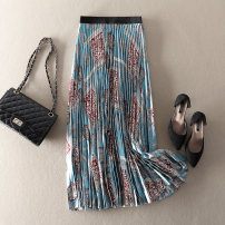 skirt Summer 2021 S,M,L blue Mid length dress street High waist Pleated skirt Decor Type A More than 95% polyester fiber Pleated, stitched, printed Europe and America