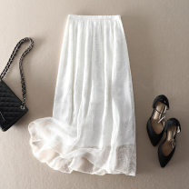 skirt Summer 2021 S,M,L,XL Black, white Mid length dress street High waist A-line skirt Solid color Type A More than 95% silk Embroidery, stitching Europe and America