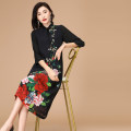 Dress Summer 2021 black S,M,L,XL,2XL,3XL,4XL Mid length dress singleton  three quarter sleeve commute stand collar Elastic waist Decor zipper A-line skirt routine Others 40-49 years old Type A Flower cesium Lupin Korean version Pleats, zippers 2017lyq-28 31% (inclusive) - 50% (inclusive) Chiffon