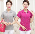 Middle aged and old women's wear Summer 2016 L XL XXL XXXL 4XL Jade red light grey rose red dark blue fashion T-shirt easy singleton  Decor 40-49 years old Socket Polo collar routine cotton Short sleeve