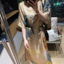 Dress Spring 2021 Bright orange, champagne gold 36,38 longuette singleton  elbow sleeve commute Crew neck Loose waist Decor Bat sleeve Others Type A MANDYSHEN ethnic style Stitching, embroidery More than 95% other silk