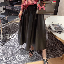 skirt Spring 2021 S,M,L 30% matte black Middle-skirt commute Natural waist A-line skirt Solid color Type A More than 95% Sheepskin MANDYSHEN Sheepskin Ol style