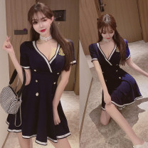 Dress Summer 2020 Navy Blue S,M,L Short skirt singleton  Short sleeve street V-neck High waist Socket Big swing 18-24 years old Sticking cloth Europe and America