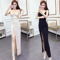 Dress Summer of 2019 Apricot, black S,M,L,XL longuette singleton  commute V-neck High waist zipper camisole 18-24 years old Type A Other / other Korean version 858#