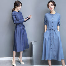 Dress Spring 2020 Dark blue, light blue M,L,XL,XXL longuette singleton  Long sleeves commute other middle-waisted Solid color Single breasted Big swing routine Others Type A Korean version Ruffles, lace, buttons 51% (inclusive) - 70% (inclusive) Denim cotton