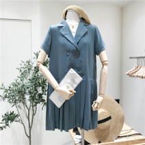 Dress Summer 2020 Black, light blue, dark purple Average size Short skirt singleton  Short sleeve commute tailored collar Loose waist Solid color double-breasted other routine Others Korean version 31% (inclusive) - 50% (inclusive)