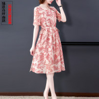 Dress Summer 2021 Decor S,M,L,XL,2XL,3XL Mid length dress singleton  Short sleeve commute Crew neck Loose waist Decor Socket Big swing routine 40-49 years old Type X lady Lace up, printed 91% (inclusive) - 95% (inclusive) Crepe de Chine silk