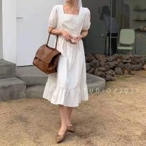 Dress Summer 2021 White, red Average size Mid length dress singleton  Short sleeve commute square neck other Others 18-24 years old Type X Other / other lady