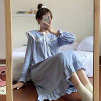 Nightdress Other / other Off white, haze blue, skin pink, mint green Average size Sweet Long sleeves pajamas longuette autumn Solid color youth Crew neck cotton other