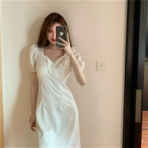 Dress Summer 2021 Irregular Princess Dress S, M Mid length dress singleton  Short sleeve commute square neck High waist Solid color zipper A-line skirt puff sleeve Others 18-24 years old Type X Other / other Simplicity Pleats, stitches, zippers 51% (inclusive) - 70% (inclusive) Chiffon other