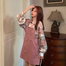 Dress Spring 2021 Pink suspender skirt, fancy shirt S. M, average size Short skirt singleton  Sleeveless Sweet square neck middle-waisted Solid color Socket other straps Type H Other / other pocket solar system