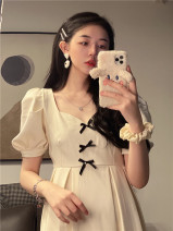 Dress Summer 2021 Apricot, black M, L Middle-skirt singleton  Short sleeve commute square neck High waist 18-24 years old Type A Other / other Korean version 9897#