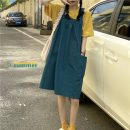 Dress Summer 2021 Yellow T-shirt, green strap Average size Middle-skirt Two piece set Sleeveless commute square neck Loose waist Socket A-line skirt routine straps 18-24 years old Type A Korean version pocket