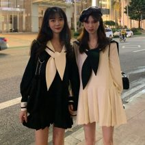 Dress Spring 2021 Milky white, black Average size Middle-skirt singleton  Long sleeves Sweet Admiral Loose waist Socket A-line skirt routine Others 18-24 years old Type A Bowknot, stitching college