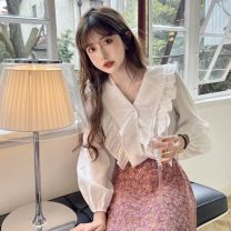 shirt White, blue, pink Average size Spring 2021 other 30% and below Long sleeves commute Regular V-neck Single row multi button puff sleeve 18-24 years old Straight cylinder Korean version Ruffles, stitching