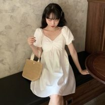 Dress Summer 2021 White, blue, yellow Average size Middle-skirt singleton  Short sleeve commute V-neck High waist Socket A-line skirt puff sleeve Others 18-24 years old Type A Korean version Splicing