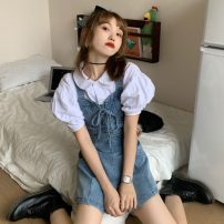 Casual pants White shirt, suspenders S. M, l, average size Summer 2021 shorts Jumpsuit High waist commute routine 18-24 years old Korean version