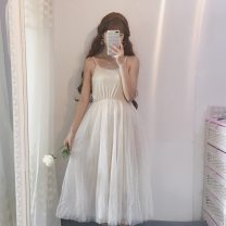 Dress Autumn 2020 Average size Mid length dress singleton  Sleeveless Sweet Crew neck Elastic waist Solid color Socket Big swing camisole 18-24 years old Type A Other / other Splicing, mesh solar system