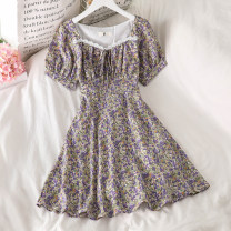 Dress Summer 2021 Picture color S, M Short skirt singleton  Short sleeve commute square neck High waist Broken flowers Socket A-line skirt puff sleeve Others 18-24 years old Type A Korean version 51% (inclusive) - 70% (inclusive) Chiffon polyester fiber