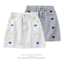 skirt Summer 2021 S,M,L,XL Short skirt commute High waist Denim skirt Solid color Type A 18-24 years old 51% (inclusive) - 70% (inclusive) Denim cotton Korean version