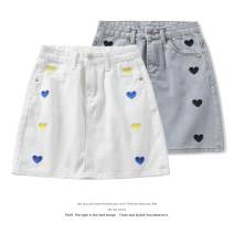 skirt Summer 2021 S,M,L,XL Short skirt commute High waist Denim skirt Solid color Type A 18-24 years old 51% (inclusive) - 70% (inclusive) Denim cotton Korean version