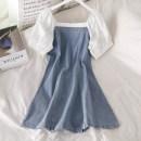 Dress Summer 2020 blue S, M Short skirt singleton  Short sleeve commute One word collar High waist Socket A-line skirt puff sleeve 18-24 years old Type A Korean version