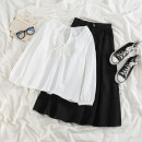 Fashion suit Spring 2021 Average size Black skirt, apricot skirt, lace up shirt 18-25 years old 51% (inclusive) - 70% (inclusive) polyester fiber