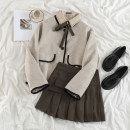 Fashion suit Winter 2020 S. M, l, average size Oatmeal wool jacket, khaki shirt, khaki pleated skirt 18-25 years old 71% (inclusive) - 80% (inclusive)