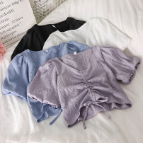 Lace / Chiffon Summer 2021 Purple, blue, black, white Average size Short sleeve commute Socket singleton  Straight cylinder have cash less than that is registered in the accounts V-neck Solid color puff sleeve 18-24 years old Korean version 51% (inclusive) - 70% (inclusive) cotton