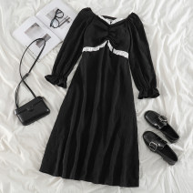 Dress Spring 2021 black S,M,L Mid length dress singleton  Long sleeves commute V-neck High waist Solid color Socket A-line skirt Lotus leaf sleeve Others 18-24 years old Type A Korean version Ruffles, lace up, stitching 71% (inclusive) - 80% (inclusive) polyester fiber