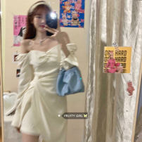 Dress Summer 2021 White, purple S, M Middle-skirt Long sleeves commute One word collar High waist Solid color Socket 18-24 years old Korean version