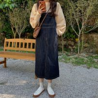 Dress Autumn 2020 navy blue S,M,L Mid length dress singleton  Sleeveless commute Loose waist Solid color Socket straps 18-24 years old Type H Korean version Pocket, button Denim