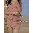 Dress Spring 2021 Pink Average size Short skirt singleton  Long sleeves commute Crew neck High waist Solid color routine 18-24 years old Korean version