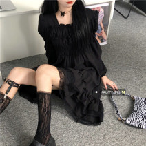 Dress Spring 2021 black Average size Mid length dress singleton  Long sleeves commute square neck High waist Solid color 18-24 years old Korean version other