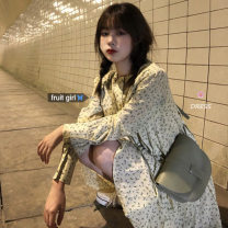Dress Autumn 2020 Picture color Average size Short skirt singleton  Long sleeves commute Crew neck Loose waist Decor Single breasted shirt sleeve 18-24 years old Korean version