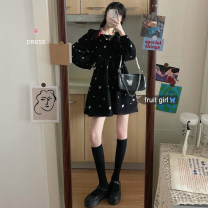 Dress Winter 2020 black Average size Short skirt singleton  Long sleeves commute square neck Loose waist A-line skirt routine 18-24 years old Type A Korean version Embroidery corduroy