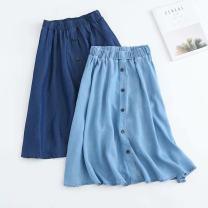 skirt Spring 2020 S,M,L,XL Light blue, dark blue Mid length dress commute High waist A-line skirt More than 95% Korean version