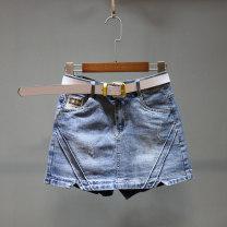 skirt Summer of 2019 S,M,L,XL,2XL Light blue, black gray Short skirt Versatile High waist A-line skirt Solid color Type A 25-29 years old Denim cotton pocket