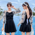 one piece  other S [recommended 80-90 kg], m [recommended 90-100 kg], l [recommended 100-110 kg], XL [recommended 110-120 kg] Skirt one piece With chest pad without steel support Polyester, others female Middle sleeve Casual swimsuit Solid color, others