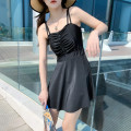 one piece  other S [recommended 75-90 kg], m [recommended 90-100 kg], l [recommended 100-110 kg], XL [recommended 110-120 kg] Black 6808, rust red 6808 Skirt one piece With chest pad without steel support Polyester, others female Sleeveless Casual swimsuit Solid color
