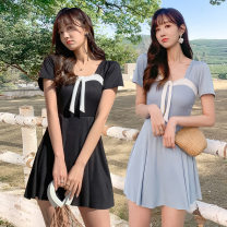 one piece  other S [recommended 80-90 kg], m [recommended 90-100 kg], l [recommended 100-110 kg], XL [recommended 110-120 kg] Black 028858 Shu, pink 028858 Shu, gray blue 028858 Shu Skirt one piece With chest pad without steel support Polyester, others female Short sleeve Casual swimsuit Solid color